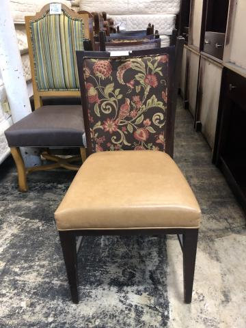 chair_dining_tan_seat_brown_with_green_and_red_flower_bird_scene_back_with_dark_wood_front_of_chair