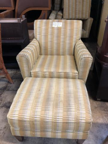 Yellow Striped Flexsteel Accent Chair and Ottoman Together