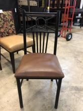 chair_dining_brown_seat_black_metal_back_front_of_chair_$19