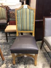 chair_dining_brown_seat_striped_back_with_light_wood_front_of_chair