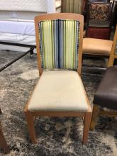 chair_dining_light_tan_seat_striped_back_with_light_wood_front_of_chair